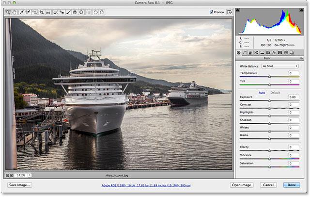 Изображение JPEG, открытое в Adobe Camera Raw 8.