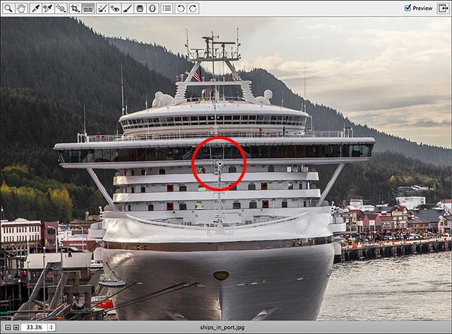 Использование инструмента «Масштаб» в Camera Raw для увеличения изображения.