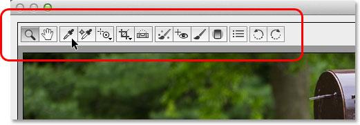Панель инструментов в диалоговом окне Camera Raw.  Изображение © 2013 Photoshop Essentials.com