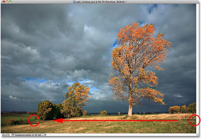 Вытаскиваем радиальный градиент радуги в фотошопе.