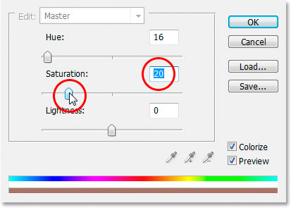 Уменьшение насыщенности оттенка цвета до 20.