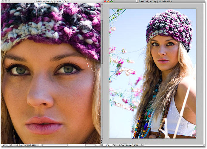 Макет документа с двумя столбцами в Photoshop CS4.  Изображение © 2009 Photoshop Essentials.com