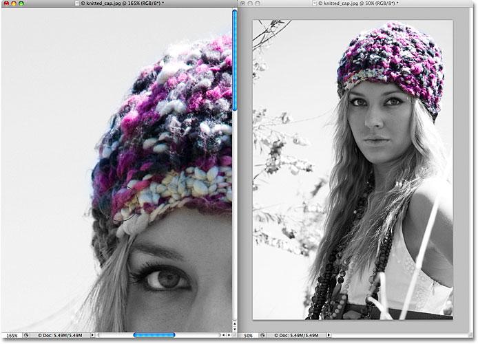 Восстановление исходного цвета изображения с помощью кисти «История» в Photoshop.  Изображение © 2009 Photoshop Essentials.com