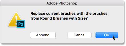 Нажмите кнопку ОК, чтобы заменить текущие кисти новыми.