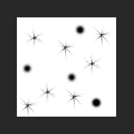 Добавим еще несколько случайных блесток с помощью кисти Starburst - Small.