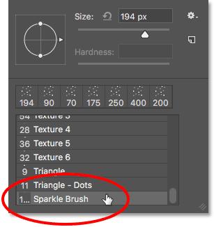 Выбор кисти Sparkle.