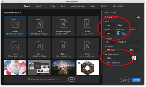 Диалоговое окно «Новый документ» в Photoshop CC.