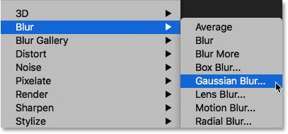 Выбор фильтра Gaussian Blur.