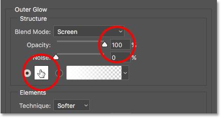Увеличиваем непрозрачность до 100 процентов, затем нажимаем образец цвета.