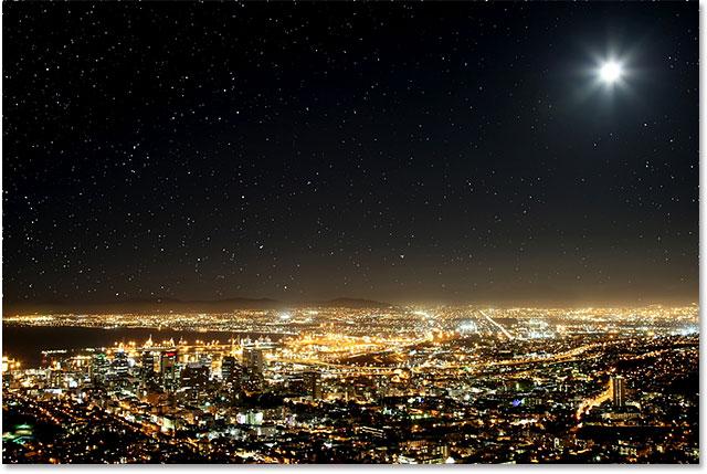Эффект звездного ночного неба, созданный в Photoshop CS6.