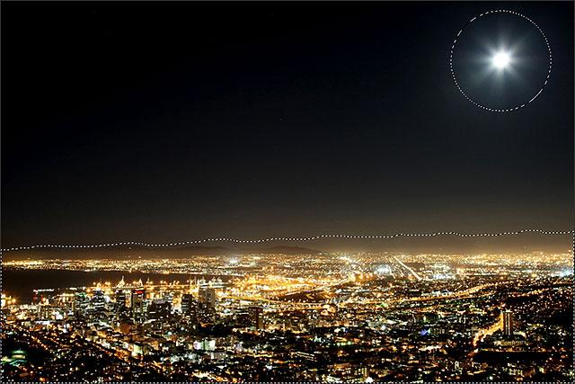 Область вокруг Луны была добавлена к первоначальному выбору.