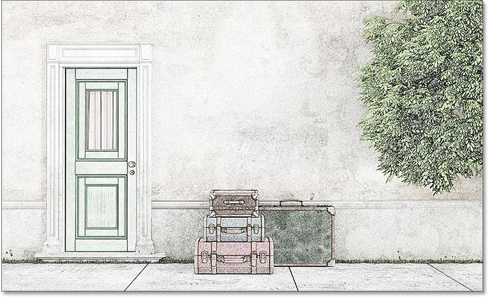 Цветной эскиз с использованием режима наложения Soft Light.