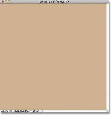 Документ Photoshop залит светло-коричневым цветом.
