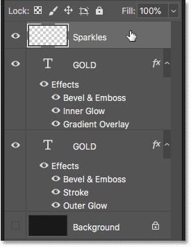 Выбор верхнего слоя с текстовым эффектом на панели «Слои»