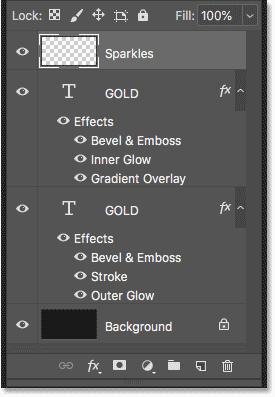 Панель «Слои», отображающая слои с текстовым эффектом и фоновый слой в Photoshop.