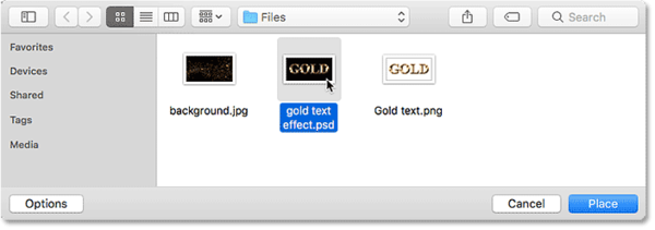Выбор документа Photoshop с текстовым эффектом для размещения на новом фоне