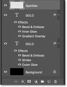 Панель «Слои», отображающая слои с текстовым эффектом и фоновый слой