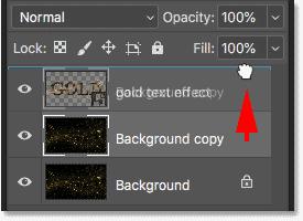 Перетаскивание копии изображения над текстовым эффектом