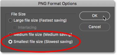 Настройка параметров формата PNG в Photoshop