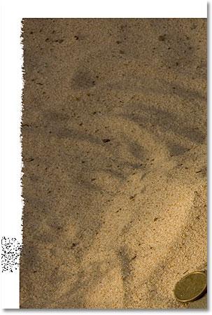 Стирание большего количества левого края изображения с помощью инструмента «Ластик».