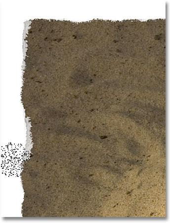 Стирание большей части края, чтобы показать светло-серый на слое под изображением.
