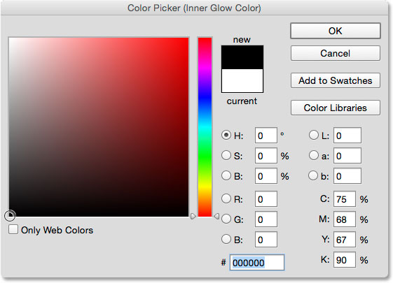 Изменение цвета Inner Glow на черный.