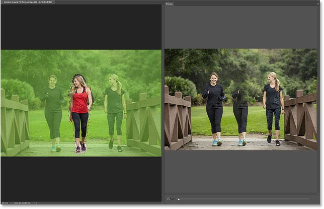 Рабочая область и вкладка «Просмотр» в области задач «Контентно-зависимая заливка» в Photoshop CC 2019.