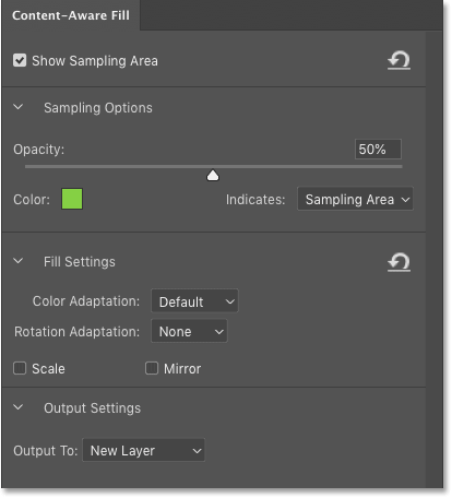 Панель Content-Aware Fill в Photoshop CC 2019.