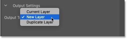 Параметры вывода для пространства задач «Контентно-зависимая заливка» в Photoshop CC 2019