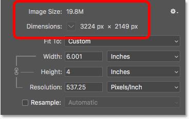 На размер пикселя и размер файла не влияет изменение размера печати