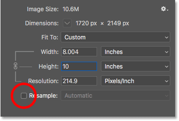 Снимите флажок «Повторная выборка», введите новые значения ширины и высоты для размера печати, а затем проверьте разрешение в диалоговом окне «Размер изображения».
