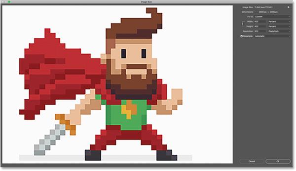 Края пиксельной графики выглядят слишком мягкими после увеличения в диалоговом окне «Размер изображения»
