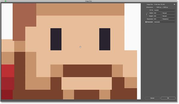 Пиксельная графика выглядит великолепно, когда вы нажимаете и удерживаете в окне предварительного просмотра размера изображения