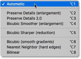 Методы интерполяции изображения в диалоговом окне «Размер изображения» в Photoshop.