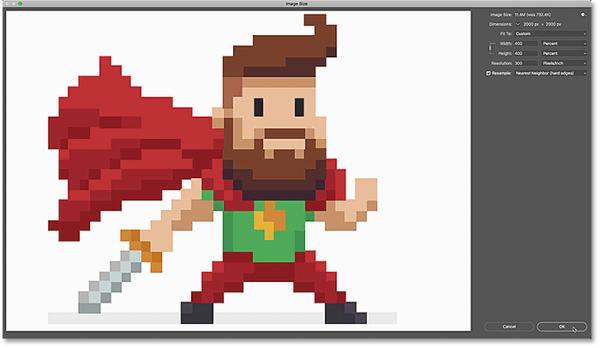 Нажмите кнопку ОК, чтобы увеличить изображение пикселя и закрыть диалоговое окно «Размер изображения».