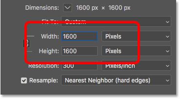 Ввод новой ширины и высоты для пиксельной графики в диалоговом окне «Размер изображения» в Photoshop