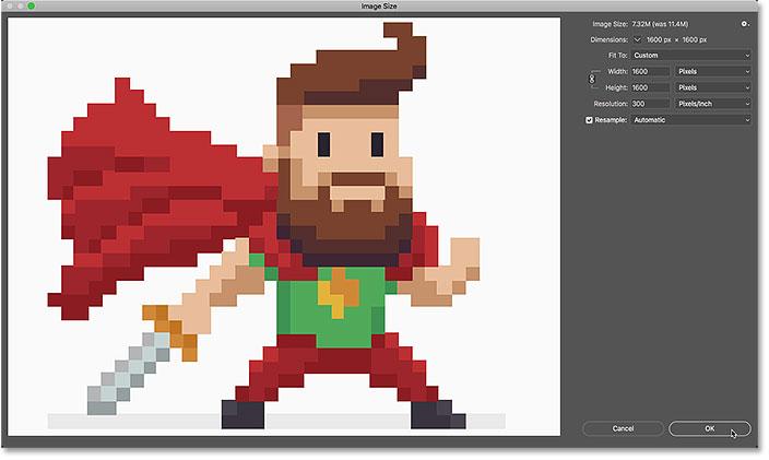 Как изменить размер пиксельной графики до точного размера в Photoshop