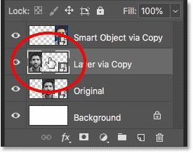 Открытие копии смарт-объекта, созданного с помощью команды «Новый слой через копирование»