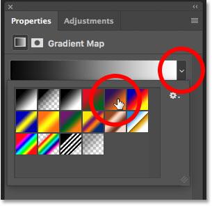 Выбор градиента для корректирующего слоя «Карта градиента» на панели «Свойства»