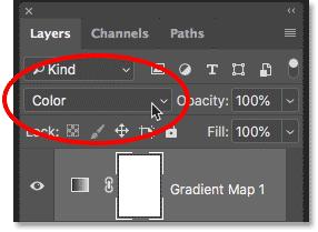 Изменение режима наложения корректирующего слоя «Карта градиента» на «Цвет»