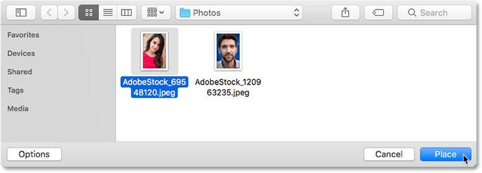 Выбор нового контента для смарт-объекта в Photoshop