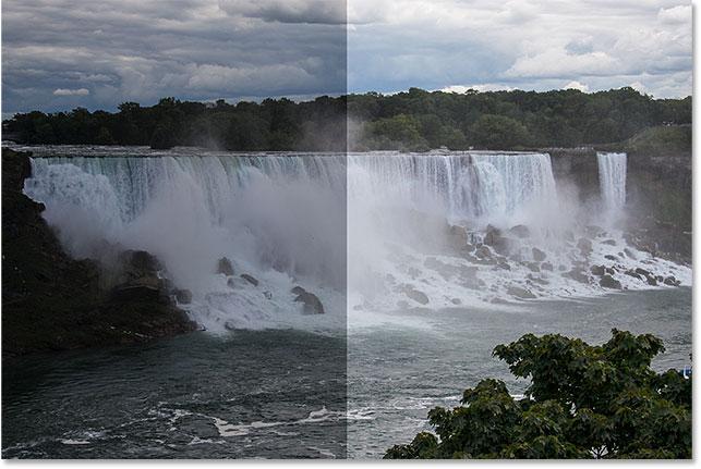 Сравнение оригинальной и яркой версий фото.