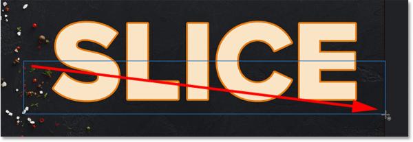 Рисование прямоугольного контура вокруг нижней половины текста в Photoshop