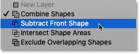 Выбор «Вычесть переднюю форму» из меню «Операции с контурами» в Photoshop