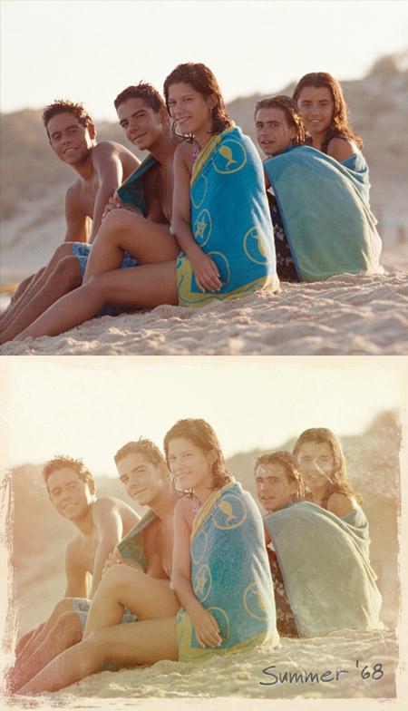 Винтажный фотоэффект до и после