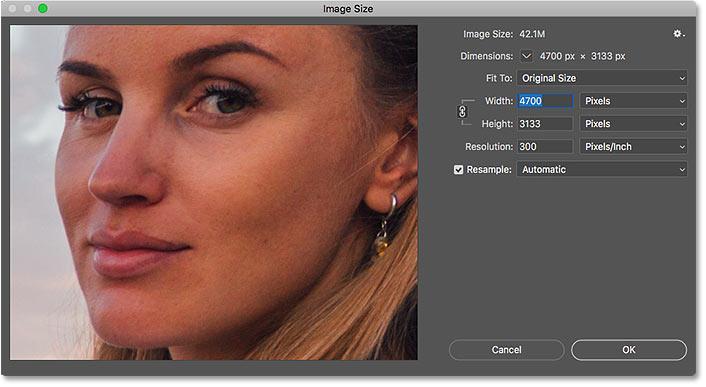 Диалоговое окно «Размер изображения» в Photoshop CC