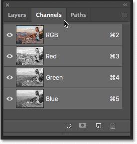 Открытие панели «Каналы» в Photoshop