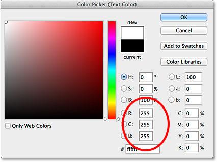 Установка значений R, G и B на белый в палитре цветов.