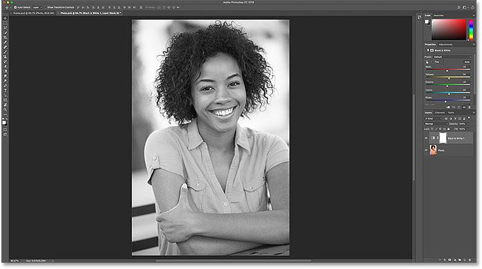 Преобразование изображения в смарт-объекте в черно-белое