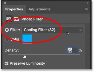 Выбор фильтра охлаждения на панели «Свойства»